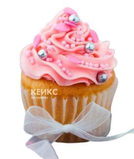 Капкейки с розовым кремом и бантиком