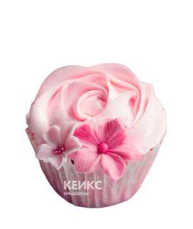 Розовые капкейки с цветочками