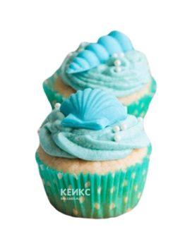 Капкейки в морском стиле с голубыми ракушками