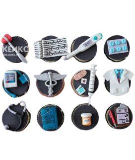 Капкейки для врача с инструментами темные