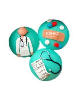 Бирюзовые капкейки с рецептом и стетоскопом для врача