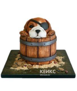 Торт 3D Пес-пират в бочонке