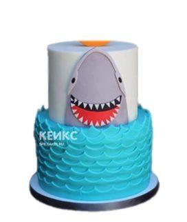 Двухъярусный торт улыбчивая Акула