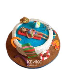 Торт бассейн с девушкой на матрасе