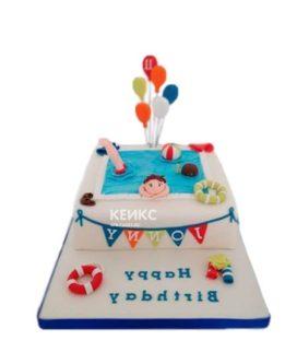 Торт бассейн с шариками