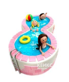 Забавный розовый торт бассейн с фигурками детей