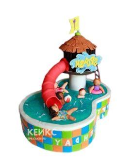 Забавный торт бассейн с красной горкой