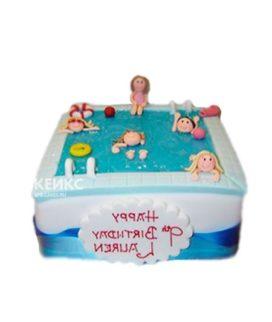 Торт бассейн с человечками