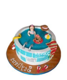 Торт в виде бассейна с девушкой и собакой