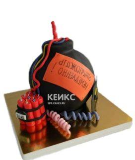 Взрывной торт Бомба с проводами красным и синим