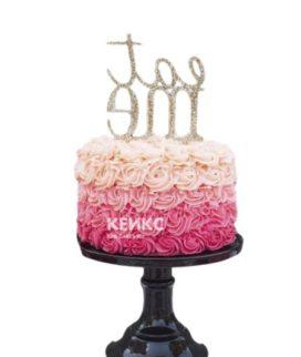 Торт букет роз с надписью