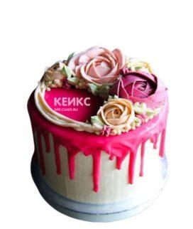 Торт букет с разноцветными розами