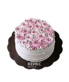 Торт букет с розовыми розами