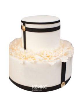 Двухъярусный черно-белый торт