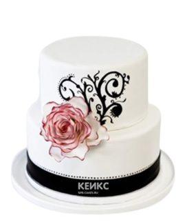 Черно-белый торт с рисунком и розой