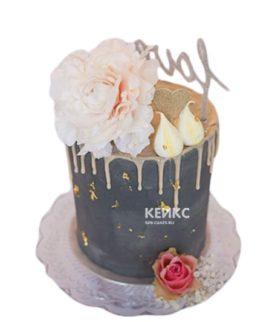 Черный торт с цветами и надписью