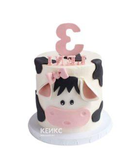 Недорогой детский торт в виде коровы
