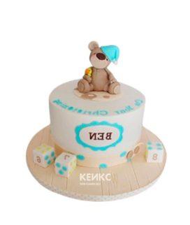 Недорогой детский торт с фигуркой мишки и кубиками