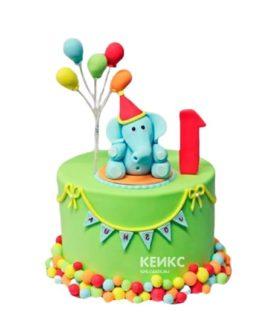 Недорогой детский торт со слоником и шариками