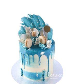 Бело-голубой торт на 15 лет девушке
