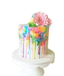 Разноцветный торт с цветами на 15 лет девушке