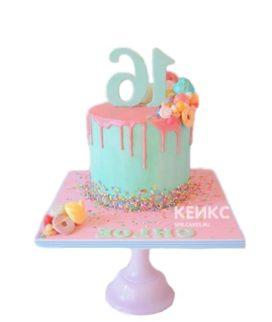 Бирюзово-розовый торт на 15 лет девушке