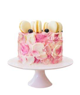 Бело-розовый торт на 15 лет девушке
