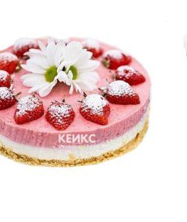 Торт для беременных с клубникой и белыми цветами