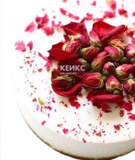 Белый торт для беременных с цветами