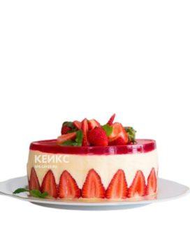 Французский красно-белый торт фрезье с клубникой