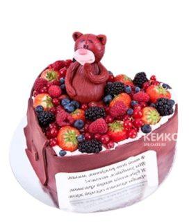 Детский фруктовый торт с медведем