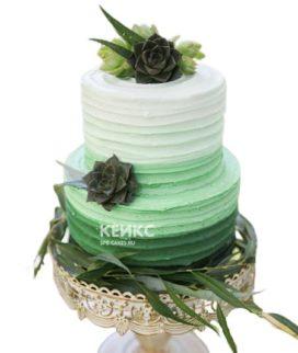 Красивый изумрудный торт из мастики или крема на выбор