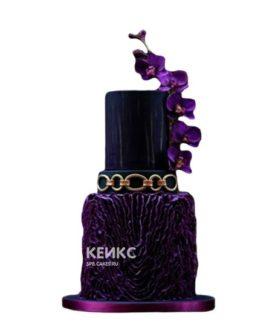Эксклюзивный торт сине-фиолетовый с цветами на день рождения