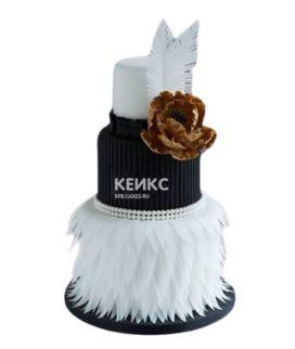 Эксклюзивный черно-белый торт на день рождения