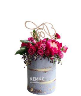 Эксклюзивный торт на день рождения с цветами и надписью
