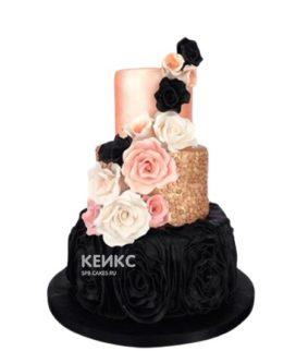 Эксклюзивный черно-розовый торт на день рождения