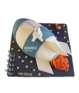 Торт космический корабль с космонавтом