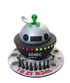 Торт космический корабль с инопланетянином