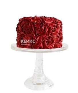 Красный торт с цветами из крема