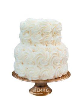 Недорогой торт с белыми кремовыми розами на день рождения
