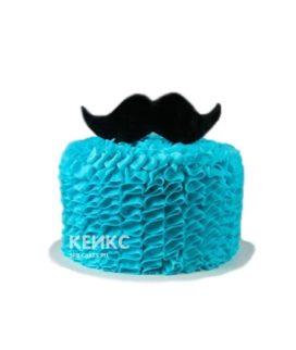 Лазурный недорогой торт с усами на день рождения