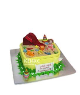 Торт песочница с девочкой и игрушками
