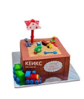 Торт песочница с игрушками и паровозиком