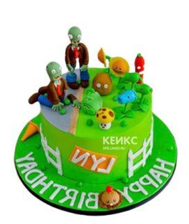 Торт зомби против растений с фигурками и надписью