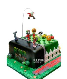Черно-зеленый торт зомби против растений с фигурками