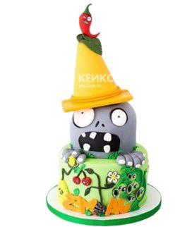 Торт в стиле зомби против растений