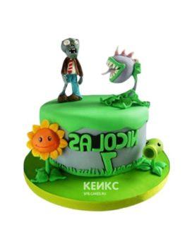 Торт зомби против растений в зеленом цвете с фигурками