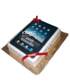Торт в виде планшета с красной ленточкой