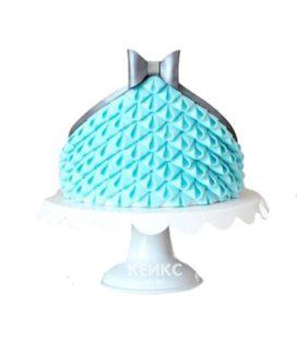 Торт голубое платье с серым бантиком
