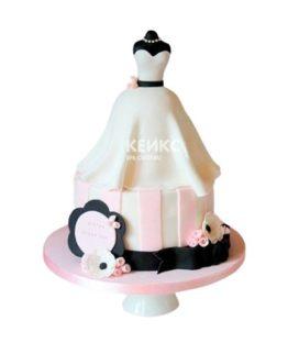 Торт белое платье с черным поясом